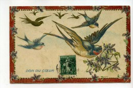 CPA  Fantaisie : Fleurs Avec Hirondelles Don Du Coeur  1908   A   VOIR  !!!! - Fantaisies