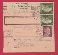 Allemagne  //  Colis Postal  //   De Konigshofen  //    Pour Beningen      //  28/11/42 - Allemagne
