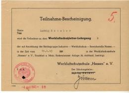 Werkluftschutz - Lehrgang 1943 , Ludwig Hessler , Reichsgruppe Industrie , Luftschutz , Hessen , Frankfurt A.M. !!! - 1939-45