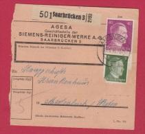 Allemagne  //  Colis Postal  //   De Saarbrucken 3   //    Pour Merlebach      //  7/6/1943 - Allemagne