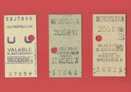 3 TICKETS - METROPOLITAIN - PARIS - SAINT MICHEL - PORTE DE VINCENNES - TROCADERO -    (3661) -