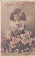 Carte Postale Ancienne Fantaisie - Fillette - Panier Fleuri - Joyeuse Année - Phantasie