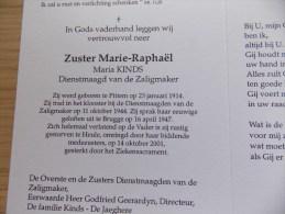 Doodsprentje Maria Kinds Pittem 23/1/1914 Heule 14/10/2001 ( Zuster Marie Raphaël, Dienstmaagd Van De Zaligmaker ) - Religion & Esotérisme