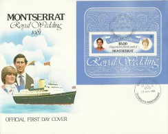 Montserrat 1981 Royal Wedding Miniature Sheet FDC - Montserrat