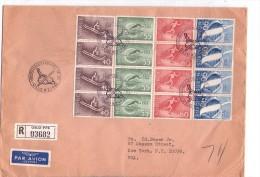 Championnat Du Monde De Sky- Norvège 1966-Lettre Envoyée Par Recommandé Vers Les USA-Bloc De 4 - Skisport
