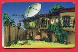 H366 / MOBIKA - OLD HOUSE , Television Aerials PIG COW HEN - Phonecards Télécartes Telefonkarten Bulgaria Bulgarie - Telecom