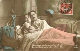 Guerre 1914-18 -ref K484- Patriotique - Couple Au Lit - Theme Couples - Carte Bon Etat - - Guerre 1914-18