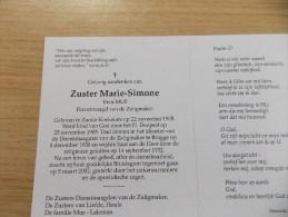 Doodsprentje Irma Mus Zande Koekelare 22/11/1905 - 5/3/2002 ( Zuster Marie Simone , Dienstmaagd Van De Zaligmaker ) - Religion & Esotericism