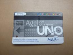 "Ticket de bus""Agglo' UNO 1 voyage"" Agglobus CAVEM (Communaut� d'Aglom�ration Var Est�rel M�diterran�e (83)"