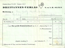 """Auftragsbestätigung / Rechnung  """"Das Grosse Kräuterheilbuch""""  (Dreitannen Verlag Olten)        1946 - Switzerland"""