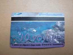 """Ticket de bus""""10 voyages"""" r�seau mistral TOULON PROVENCE MEDITERRANEE (83)"""