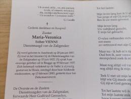 Doodsprentje Esther Vienne Assebroek 20/1/1897 Heule 13/2/2003 ( Zuster Maria Veronica, Dienstmaagd Van De Zaligmaker ) - Religion & Esotérisme