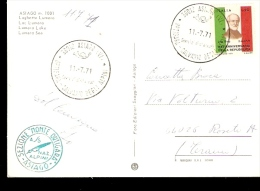 Cartolina ASIAGO Annullo Speciale Calvario Degli ALPINI All´Ortigara 1971 ANNULLO SEZIONE ASIAGO VERDE - Militaria