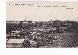 carte 1915 TRAVECY / EGLISE ET CIMETIERE
