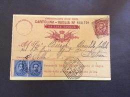 CARTOLINA VAGLIA L.5 + 25c.coppia + ANNULLO SIENA ESAGONALE+ ANNULLI LINEARI MILANO E MILANO SUCC.3. + 52 REGG.FANTERIA. - 1900-44 Vittorio Emanuele III