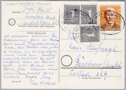 Heimat DE Bahnlinie HAGEN(WEST)-KASSEL Zug 2240 1953-3-13 Karte Nach Güstrow - Lettres & Documents