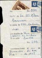 Bolivia 1953 LA PAZ.  Mitad De Recibo De Alquiler. Mitad H&A #84, 2x Mitad Timbre Municipal  TYPE H&A WG1. - Bolivia