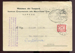 L87 - Lettre  - Italie - Ministère Dei Trasporti  -    Taxée - Affrancature Meccaniche Rosse (EMA)