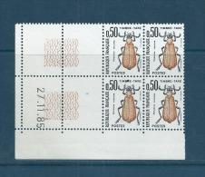 FRANCE  LUXE  TAXE  N°  105  BLOC  DE  4  COIN  DATE  27//11/85 - Coins Datés