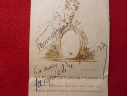 AUTOGRAPHE MARCEL PAGNOL sur MENU FOIRE EXPOSITION DE PEZENAS 1947