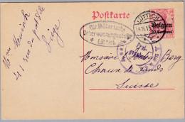 Belgien 14/18 1915-11-14 LÜTTICH Zensur-Ganzsache Nach Chaux-de-Fonds - WW I