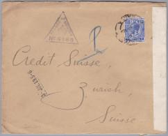 Malta 1919-7-3 Zensur Brief Nach Zürich - Malte