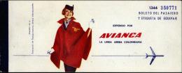 AVIANCA (Colombia) 1963, ida y vuelta Quito (Ecuador)-Estados Unidos-Quito. 2 scan.