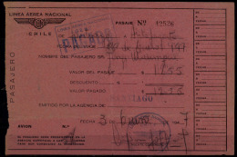 LAN Chile 1947. Vuelo Nacional. Santiago - Antofagasta. Domestic Flight. Santiago - Antofagasta. - Plane