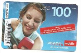"SWITZERLAND/SUISSE - Swisscom Mobile - CHF 100 - Text ""New: vodafone live! ..."""
