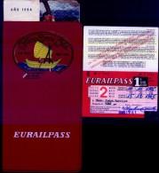 EURAILPASS 1965 (CRILLON TOURS LTDA. LAPAZ - BOLIVIA).  FERROCARRILES NACIONALES DE 13 PAUSES EUROPEOS.