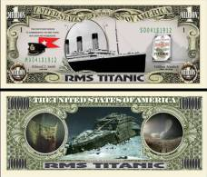 TITANIC - BILLET COMMEMORATIF de collection 1 MILLION DOLLAR US ! RMS Paquebot Naufrage Photos Epave