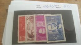 LOT 219509 TIMBRE DE FRANCE NEUF** N�436/439 VALEUR 55 EUROS  LUXE