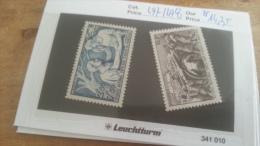 LOT 219517 TIMBRE DE FRANCE NEUF** N�497 A 498 VALEUR 14,35 EUROS  LUXE