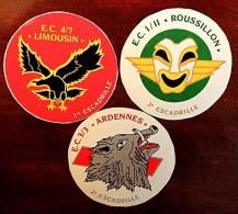 Lot de 3 petits autocollants d'escadrille Arm�e de l'Air Ardennes Limousin Roussillon