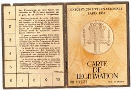 Carte de l�gitimation Exposition Internationales PARIS 1937 SNCF Grands R�seaux Fran�ais