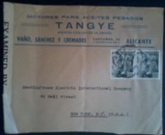 España 1943. Carta De Alicante A Nueva York. Censura. - Marcas De Censura Nacional