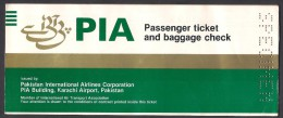 "PAKISTAN INTERNATIONAL AIRLINES PIA PASSENGER TICKET UNUSED ""SPECIMEN"" INTERNATIONAL ROUTS - Tickets"
