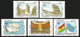 Ghana 1985 United Nations Dove General Assembly Flags MNH - Ghana (1957-...)