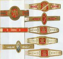 8 Alte Zigarrenbanderolen - Bauchbinden Der Zigarrenmarke Coronas, Coronitas - Bagues De Cigares