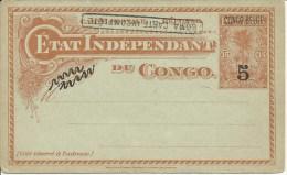 1908  CONGO BELGE  carte postale surcharg�e  Boma carte incompl�te
