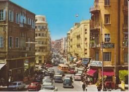 LIBAN,LEBANON,BEYROUTH,BE IRUT,RUE WEYGAND,centre ville,carte anim�e,1970,circulation difficile
