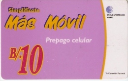 TARJETA DE PANAMA DE CABLE & WIRELESS B/.10  MAS MOVIL - Panamá