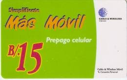 TARJETA DE PANAMA DE CABLE & WIRELESS B/.15  MAS MOVIL - Panamá