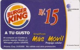 TARJETA DE PANAMA DE CABLE & WIRELESS B/.15  MAS MOVIL (BURGER KING) - Panamá