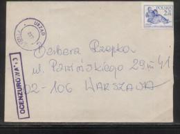 POLAND 1982 LETTER KATOWICE TO WARSZAWA OCENZUROWANO CENSORED VIOLET CACHETS CENSOR STATION 317 - 1944-.... República