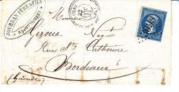 Loire, REGNY ,cachet 22 Perlé , Gc 3099, Lettre Avec Correspondance - 1849-1876: Période Classique