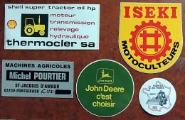 Lot De 5 Autocollants Sur Le Thème Des Tracteurs & Machines Agricoles - Deere Iseki Case - Tractors