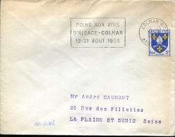 """Flamme """"Foire Aux Vins D'Alsace - Colmar 12-21 Août 1955"""" - Colmar 16-6-1955 - Sellados Mecánicos (Publicitario)"""