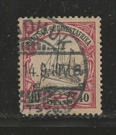 GERMAN SOUTH WEST AFRICA, 1900, Cancelled Stamp(s) SMS Hohenzollern, 40 Pf, MI 17, #16066 - Colony: German South West Africa