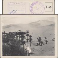 Algérie 1957. Carte FM Utilisée. Taghit (Territoires Du Sud, Vue Du Bordj). Palmiers Dans Le Désert - Arbres